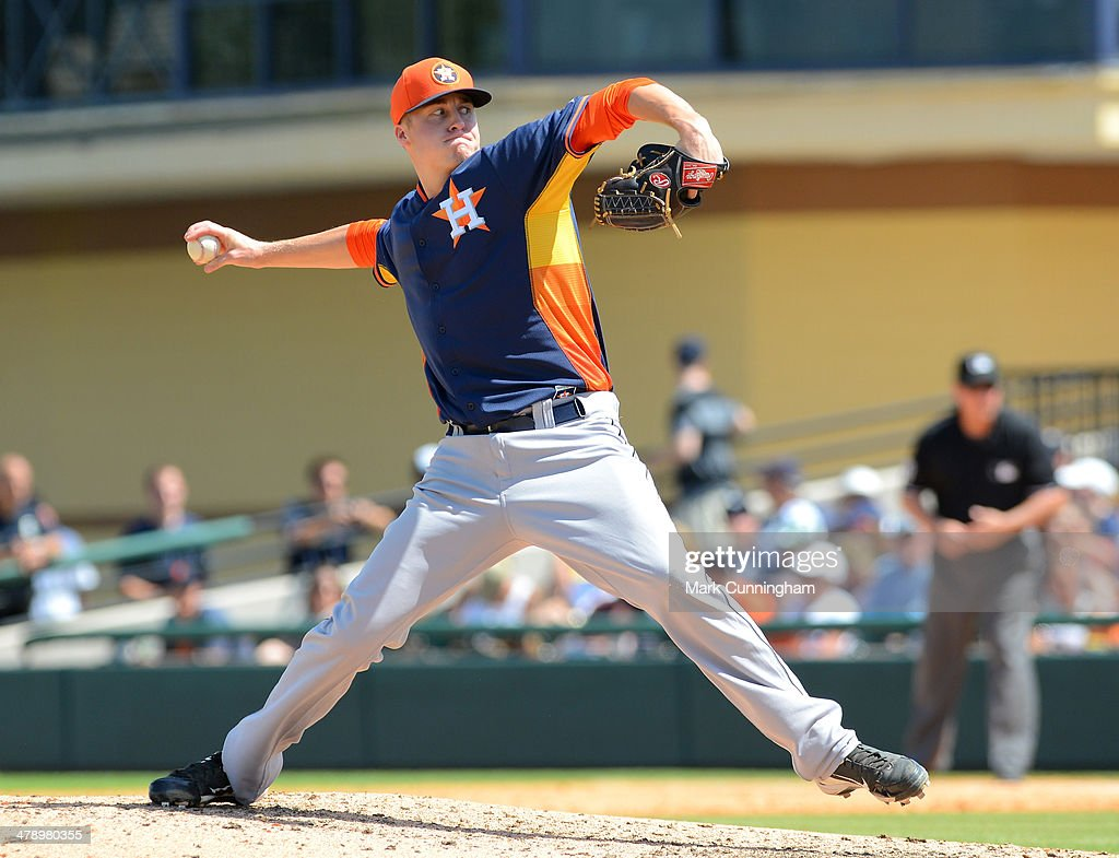 Jonas Dufek #93 of the Houston Astros pitches during the spring training game against the Detroit Tigers at Joker Marchant Stadium on March 15, 2014 in Lakeland, Florida. The Tigers defeated the Astros 14-3.