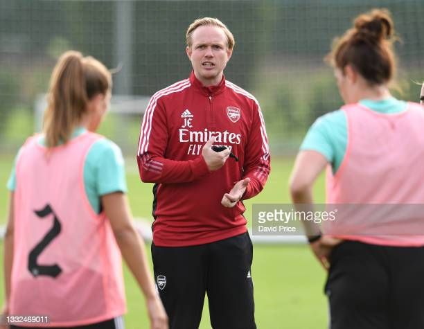 Jonas Eidevall the Arsenal Women Head Coach during the Arsenal Women's training session at London Colney on August 04, 2021 in St Albans, England.