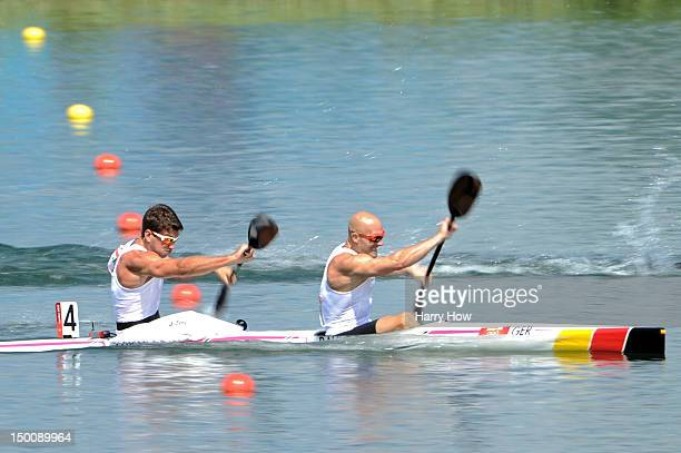 Jonas Ems and Ronald Rauhe of Germany compete in the Men's Kayak Double 200m Canoe Sprint semifinals on Day 14 of the London 2012 Olympic Games at...