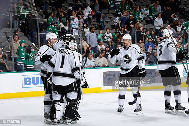 Jonas Enroth of the Los Angeles Kings is congratulated on a win against the Dallas Stars at the American Airlines Center on March 15 2016 in Dallas...