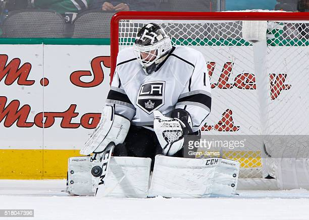 Jonas Enroth of the Los Angeles Kings makes a save against the Dallas Stars at the American Airlines Center on March 15 2016 in Dallas Texas