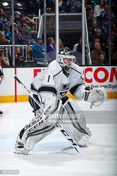 Jonas Enroth of the Los Angeles Kings protects the net against the San Jose Sharks at SAP Center on January 24 2016 in San Jose California