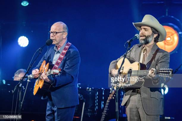 Jonas Fjeld and Dave Wilson perform Winter Stories with Judy Collins and the Chatham County Line on stage at The National Opera House in Oslo Norway
