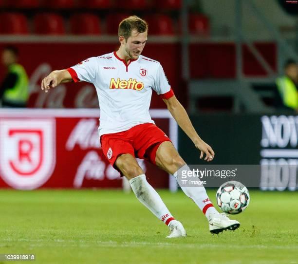 Jonas Foehrenbach of Jahn Regensburg controls the ball during the Second Bundesliga match between SSV Jahn Regensburg and SG Dynamo Dresden on...