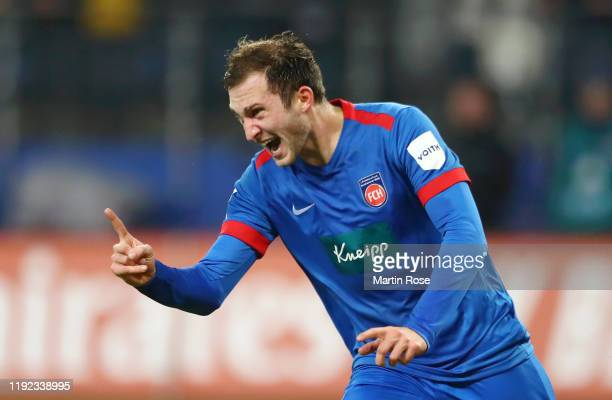 Jonas Fohrenbach of FC Heidenheim celebrates after he scores his sides first goal during the Second Bundesliga match between Hamburger SV and 1. FC...