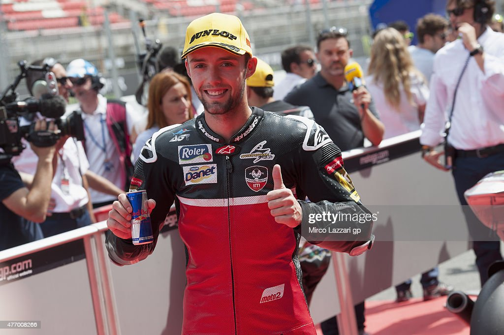 Jonas Folger of Germany and Arginano & Gines Racing celebrates at the end of the MotoGp of Catalunya - Qualifying at Circuit de Catalunya on June 13, 2015 in Montmelo, Spain.