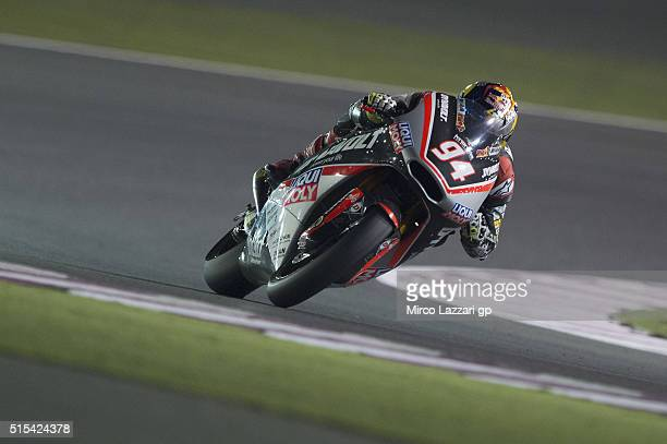 Jonas Folger of Germany and Dynavolt Intact GP heads down a straight during the Moto2 And Moto 3 Tests at Losail Circuit on March 13 2016 in Doha...