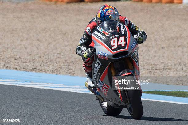 Jonas Folger of Germany and Dynavolt Intact GP heads down a straight during the Moto2 race during the MotoGp of Spain Race at Circuito de Jerez on...