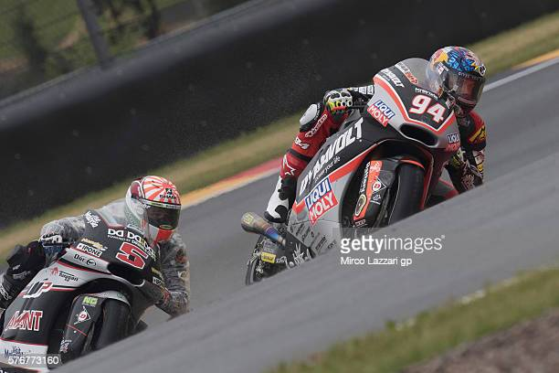 Jonas Folger of Germany and Dynavolt Intact GP leads Johann Zarco of France and Ajo Motorsport during the Moto2 race during the MotoGp of Germany...