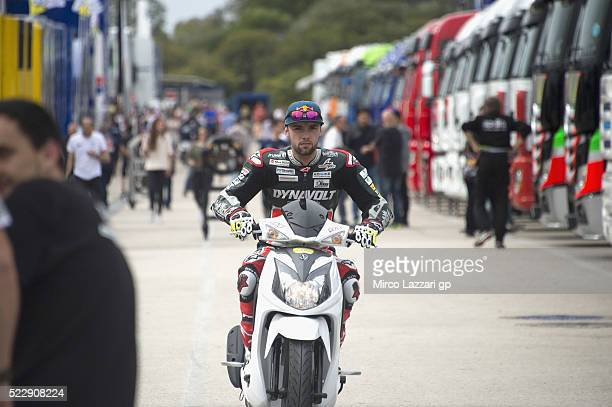 Jonas Folger of Germany and Dynavolt Intact GP rides the scooter in paddock during the MotoGp of Spain Previews at Circuito de Jerez on April 21 2016...