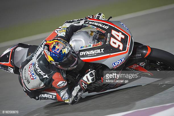 Jonas Folger of Germany and Dynavolt Intact GP rounds the bend during the MotoGp of Qatar Free Practice at Losail Circuit on March 17 2016 in Doha...
