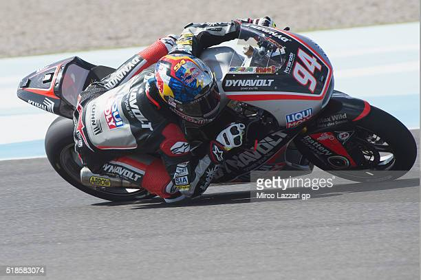 Jonas Folger of Germany and Dynavolt Intact GP rounds the bend during the MotoGp of Argentina Free Practice at Termas De Rio Hondo Circuit on April...