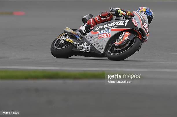 Jonas Folger of Germany and Dynavolt Intact GP rounds the bend during the MotoGp of Great Britain qualifying practice at Silverstone Circuit on...