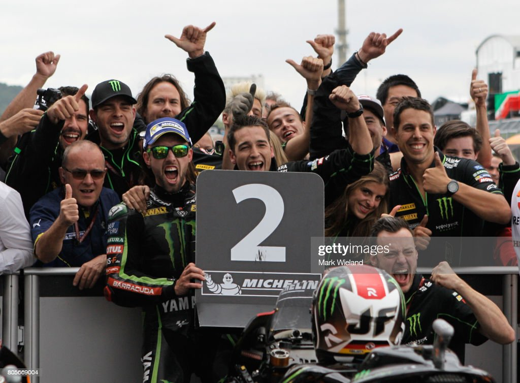 Jonas Folger of Germany and Monster Yamaha Team celebrates coming second during the MotoGP of Germany at Sachsenring Circuit on July 2, 2017 in Hohenstein-Ernstthal, Germany.
