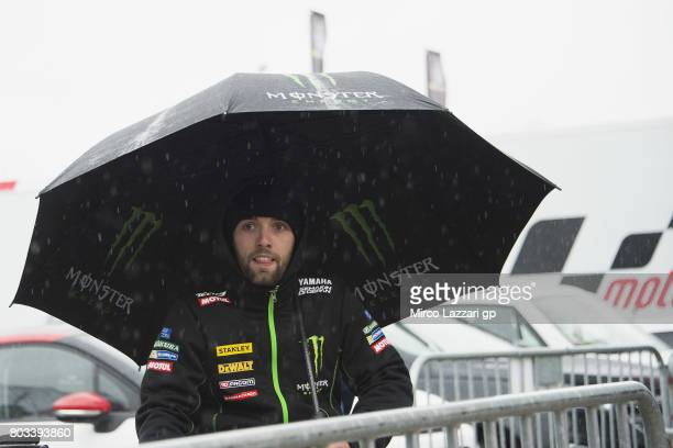 Jonas Folger of Germany and Monster Yamaha Tech 3 arrives at the press conference during the MotoGp of Germany Preview at Sachsenring Circuit on June...