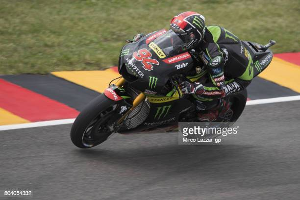 Jonas Folger of Germany and Monster Yamaha Tech 3 heads down a straight during the MotoGp of Germany Free Practice at Sachsenring Circuit on June 30...
