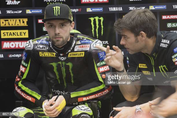 Jonas Folger of Germany and Monster Yamaha Tech 3 looks on in box during the MotoGP Tests In Losail at Losail Circuit on March 11 2017 in Doha Qatar