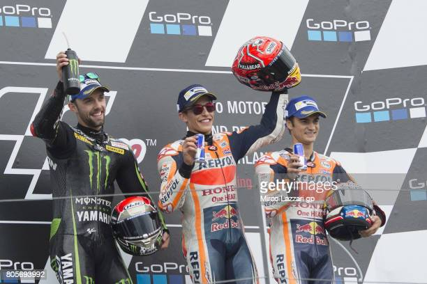 Jonas Folger of Germany and Monster Yamaha Tech 3 Marc Marquez of Spain and Repsol Honda Team and Dani Pedrosa of Spain and Repsol Honda Team...