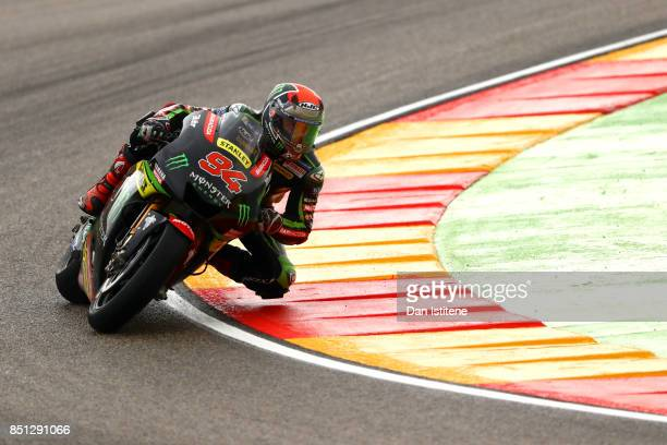 Jonas Folger of Germany and Monster Yamaha Tech 3 rides during practice for the MotoGP of Aragon at Motorland Aragon Circuit on September 22 2017 in...