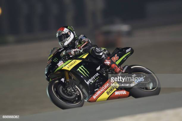 Jonas Folger of Germany and Monster Yamaha Tech 3 rounds the bend during the MotoGp of Qatar Free Practice at Losail Circuit on March 23 2017 in Doha...