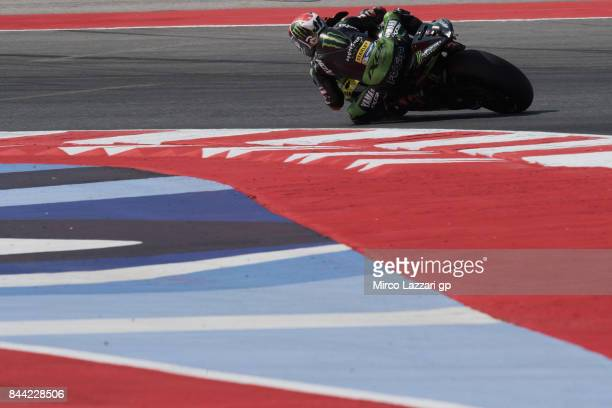 Jonas Folger of Germany and Monster Yamaha Tech 3 rounds the bend during the MotoGP of San Marino Free Practice at Misano World Circuit on September...