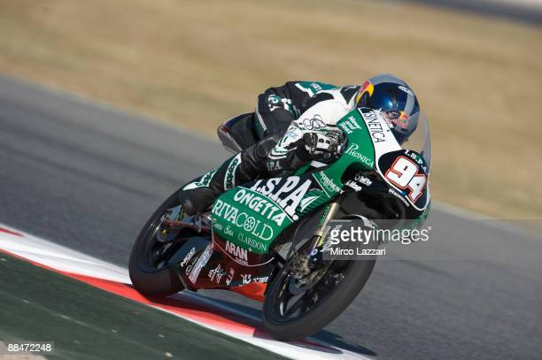 Jonas Folger of Germany and Ongetta Team Ispa heads down a straight during qualifying practice at the Montmelo Circuit on June 13, 2009 in Barcelona,...