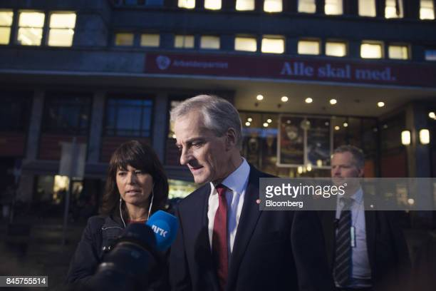 Jonas Gahr Store leader of Norway's Labor Party heads to the Labour Party event following the parliamentary vote in Oslo Norway on Monday Sept 11...