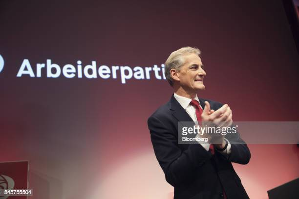 Jonas Gahr Store leader of Norway's Labor Party speaks to his supporters following the parliamentary vote in Oslo Norway on Monday Sept 11 2017...