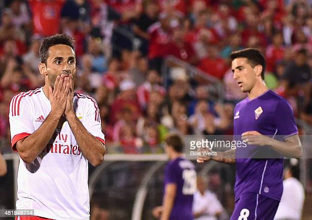 Jonas Goncalves Oliveira of SL Benfica reacts after missing a shot on goal during the second half of an International Champions Cup 2015 match...