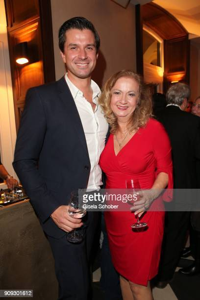Jonas Grashey and Christiane Soyke during the christmas party of magazine 'Bunte' at Tambosi on December 12 2017 in Munich Germany