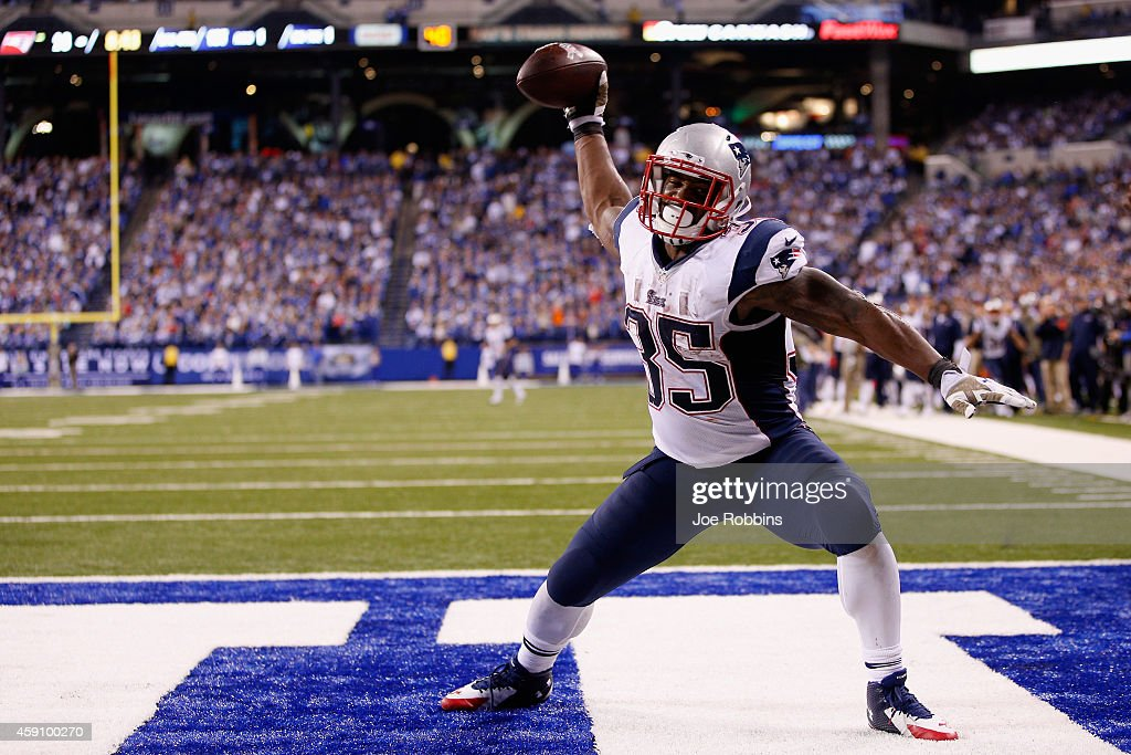 Jonas Gray #35 of the New England Patriots celebrates scoring his fourth touchdown against the Indianapolis Colts during the fourth quarter of the game at Lucas Oil Stadium on November 16, 2014 in Indianapolis, Indiana.