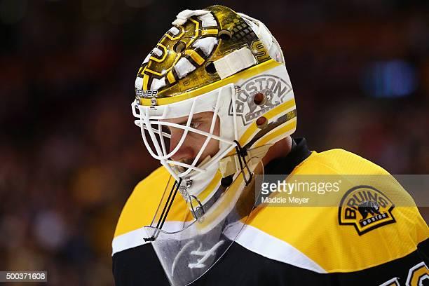 Jonas Gustavsson of the Boston Bruins looks on during the second period against the Nashville Predators at TD Garden on December 7 2015 in Boston...