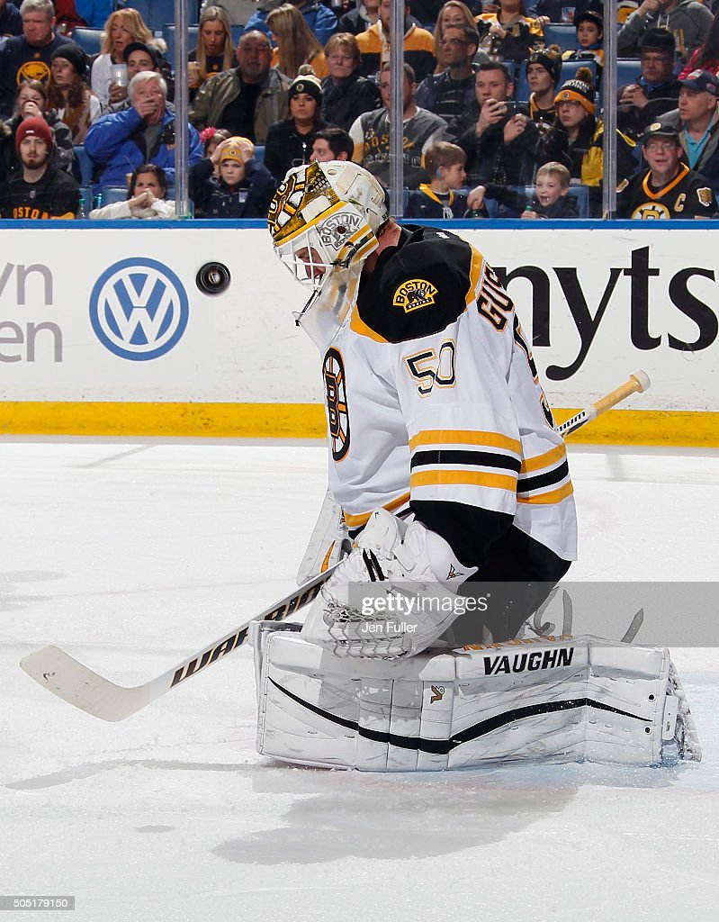 Jonas Gustavsson #50 of the Boston Bruins makes a save against the Buffalo Sabres at First Niagara Center on January 15, 2016 in Buffalo, New York. Boston defeated Buffalo 4-1.