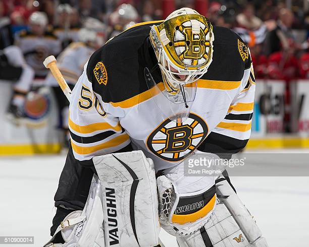 Jonas Gustavsson of the Boston Bruins skates around on a play stoppage during an NHL game against the Detroit Red Wings at Joe Louis Arena on...