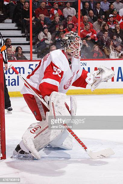 Jonas Gustavsson of the Detroit Red Wings guards his net against the Ottawa Senators during an NHL game at Canadian Tire Centre on February 27 2014...