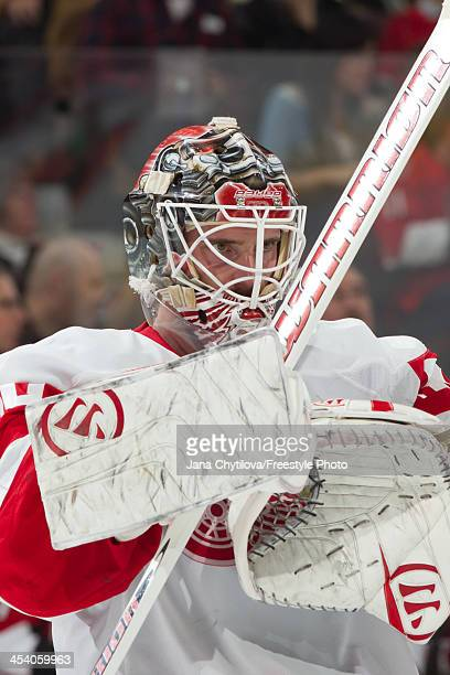 Jonas Gustavsson of the Detroit Red Wings looks on during an NHL game against the Ottawa Senators at Canadian Tire Centre on December 1 2013 in...