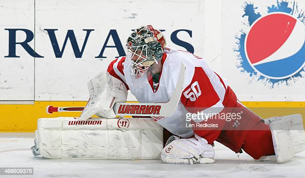 Jonas Gustavsson of the Detroit Red Wings warms up prior to his game against the Philadelphia Flyers on January 28 2014 at the Wells Fargo Center in...