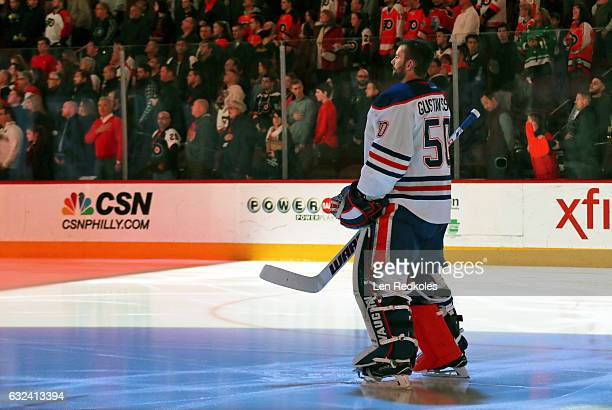 Jonas Gustavsson of the Edmonton Oilers stands during the National Anthem prior to his game against the Philadelphia Flyers on December 8 2016 at the...