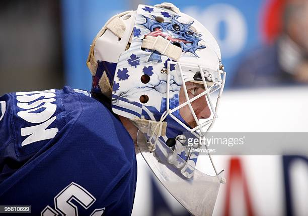 Jonas Gustavsson of the Toronto Maple Leafs gets ready for a faceoff during the game against the Florida Panthers on January 5 2010 at the Air Canada...