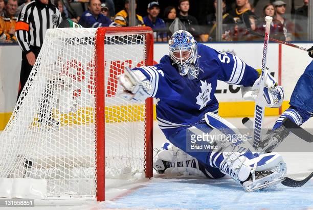 Jonas Gustavsson of the Toronto Maple Leafs has the puck get by him for a goal during NHL game action against the Boston Bruins November 5 2011 at...