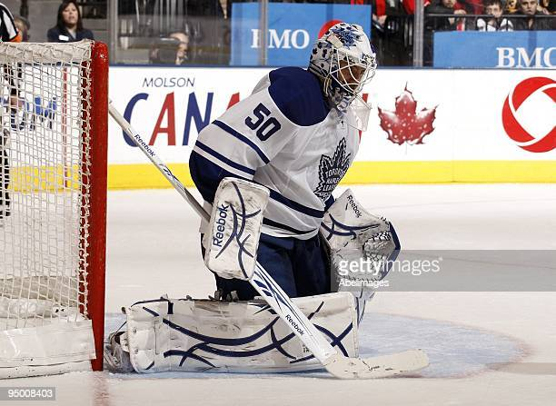 Jonas Gustavsson of the Toronto Maple Leafs makes a save during the game against the Boston Bruins on December 19 2009 at the Air Canada Centre in...