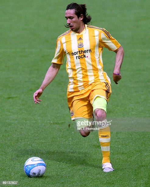 Jonas Gutierrez in action during a preseason friendly match between Huddersfield Town and Newcastle United at the Galpharm Stadium on July 21 2009 in...