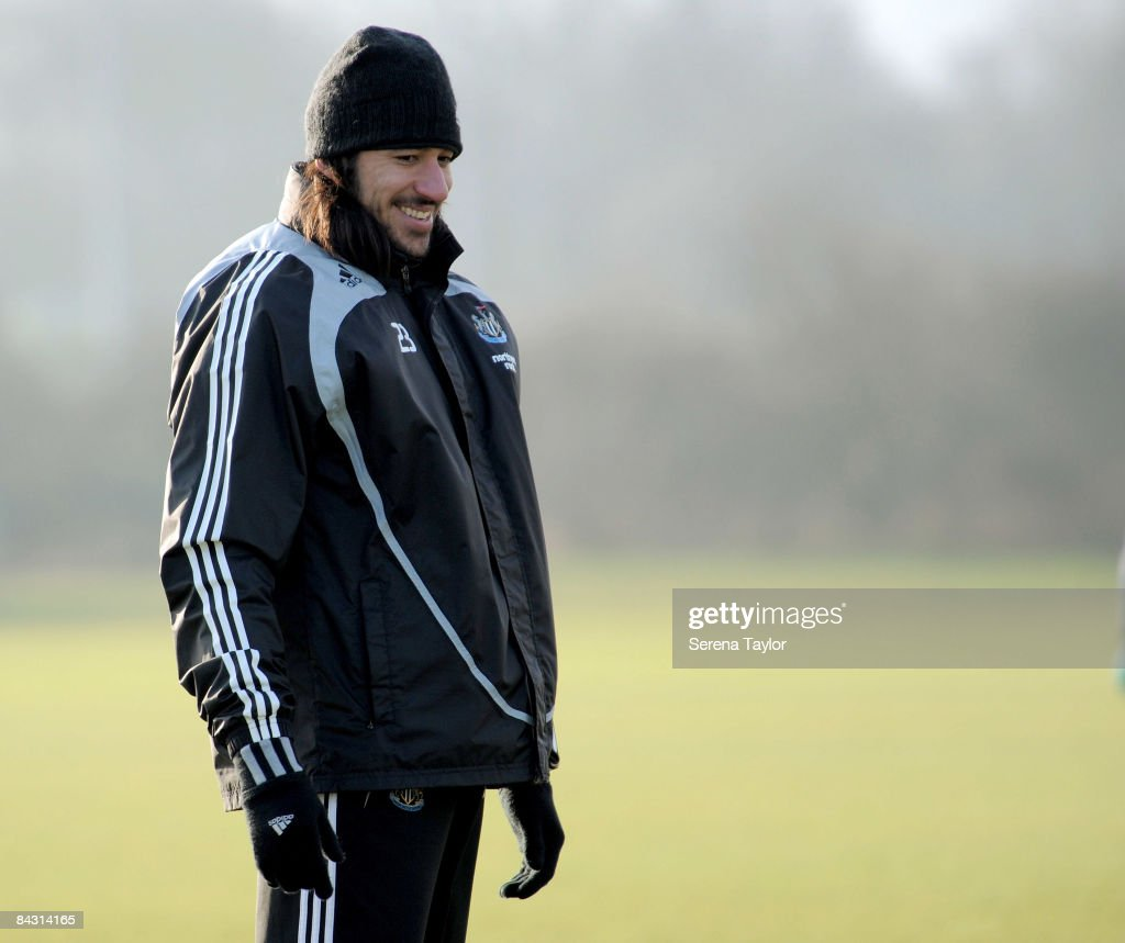 Jonas Gutierrez laughs during the Newcastle United team training session on January 16, 2009 in Newcastle-upon-Tyne, England.