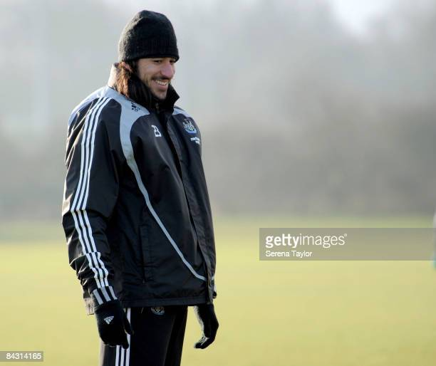 Jonas Gutierrez laughs during the Newcastle United team training session on January 16 2009 in NewcastleuponTyne England