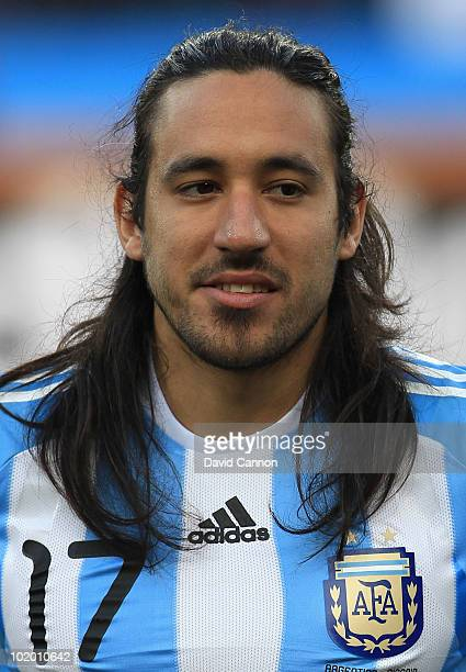 Jonas Gutierrez of Argentina during the 2010 FIFA World Cup South Africa Group B match between Argentina and Nigeria at Ellis Park Stadium on June 12...