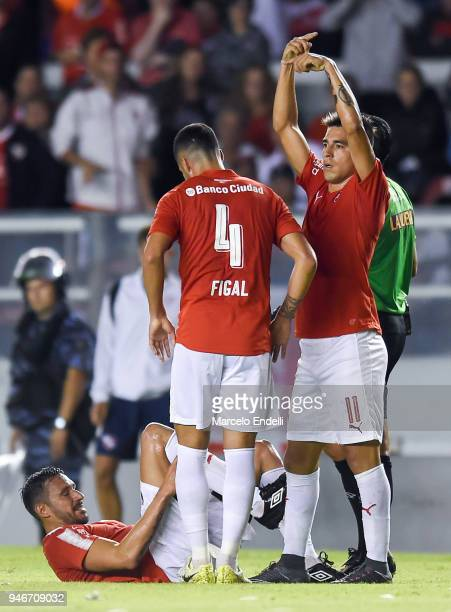 Jonas Gutierrez of Independiente lays on the ground after being injured during a match between Independiente and Boca Juniors as part of Superliga...