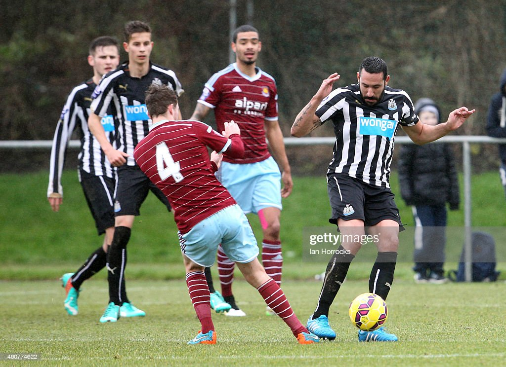 Jonas Gutierrez of Newcastle (R) during the Barclays U21 Premier League between Newcastle United and West Ham at Whitley Park Park on December 22, 2014 in Newcastle, England.