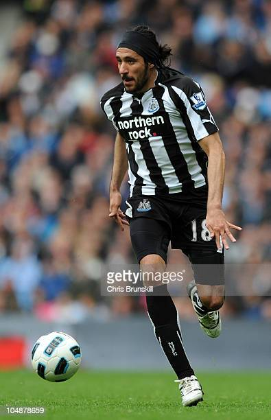 Jonas Gutierrez of Newcastle United during the Barclays Premier League match between Manchester City and Newcastle United at City of Manchester...