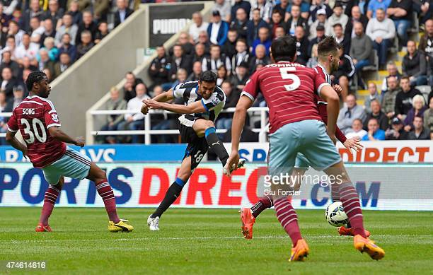 Jonas Gutierrez of Newcastle United scores his team's second goal during the Barclays Premier League match between Newcastle United and West Ham...