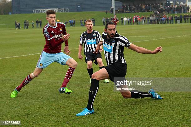 Jonas Gutierrez plays his first game since recovering from cancer during the Barclays U21 Premier League between Newcastle United and West Ham at...